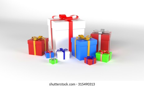 Alot of colored gift boxes.