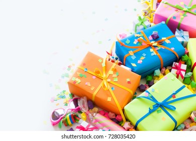 Colored gifts for the new year, Christmas and birthday