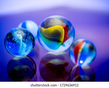 Colored glass marbles. Child's play.