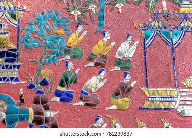 Colored glass mosaic at Wat Xieng Thong Buddhist Complex, Luang Prabang Laos