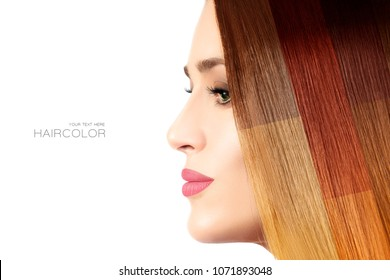 Colored hair concept. Beautiful model girl displaying different hair dye colors on her healthy straight hair in an overlay effect showing a wide range of shades. Beauty portrait isolated on white