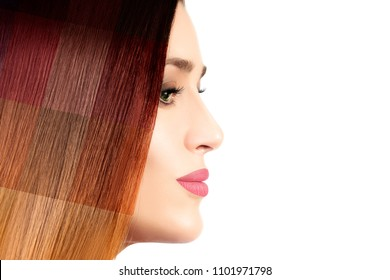 Colored hair concept. Beautiful model girl displaying different hair dye colors on her healthy straight hair in an overlay effect showing a wide range of shades. Color palette