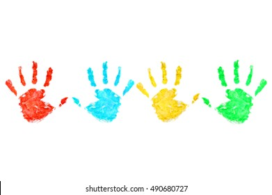 Colored hand print on white background.Handprint.