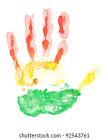 Colored hand print on white background in red, yellow and green color