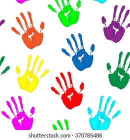 Colored Hand Print. Seamless pattern