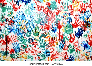 colored hand prints on white background