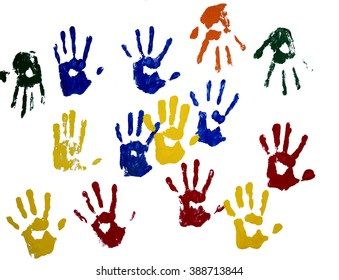 colored hand stamps on white background