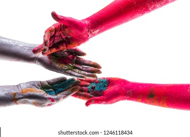 Colored hands. Shares with each other. Sharing the colors of life. Bright life. Joy of giving. Divide one another.
