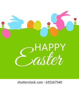 Colored Happy Easter Background  Illustration