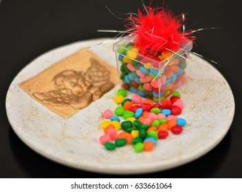 Colored heart candies on the plate