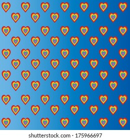 Colored hearts in blue sky