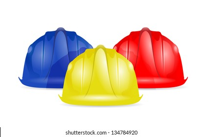 Colored helmets isolated on white background illustration design