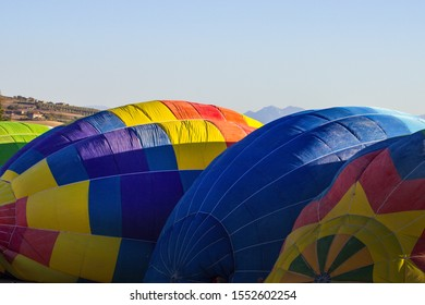 Colored hot air balloons during a gathering
