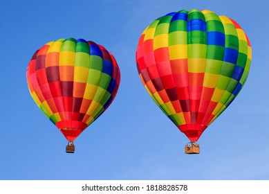 Colored hot air balloons in the sky