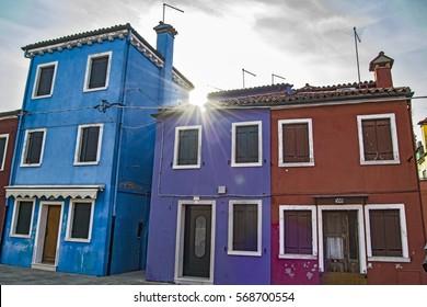 colored houses in Burano island near Venice city