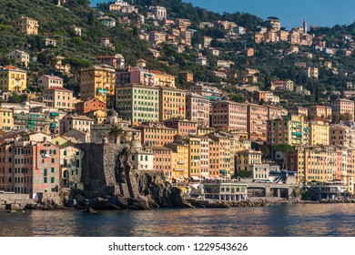 The colored houses of Camogli seen from the sea