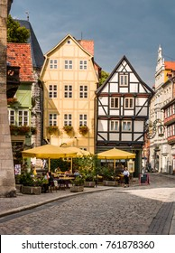 Colored houses at City of Quedlinburg which is situated just north of the Harz mountains, in the district of Harz in the west of Saxony-Anhalt, Germany, EU