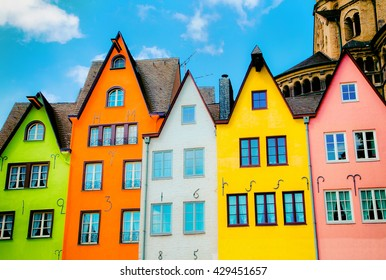 Colored Houses in Cologne as postcard