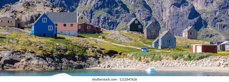 colored houses - inuit village - banner