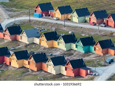 Colored houses in Longyearbyen, Svalbard, seen from above