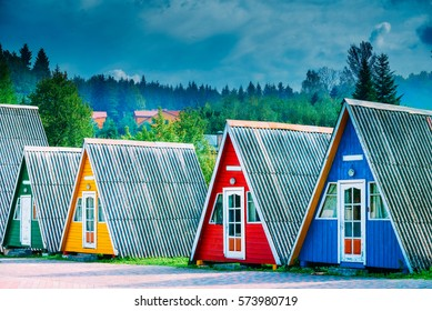 Colored houses summer camping