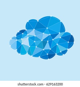 colored illustration of blue polygonal cloud