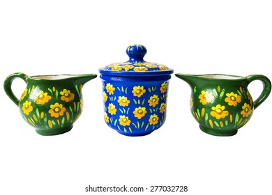 Colored jar painted with flowers