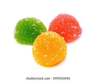 Colored jelly sweet sugar candies or marmalade isolated on a white background.