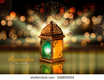 Colored lantern Greeting Card   with Ramadan Kareem text Translationt : Happy & Holy Ramadan. Month of fasting for Muslims.