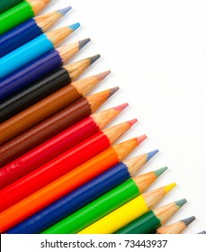 Colored Lead Art Pencils Lined up in Diagonal Row Artist Drawing Creating Supply Tool