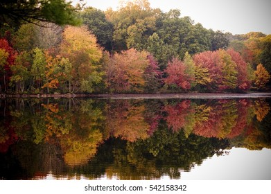 the colored leaves and foliage are mirrored in the lake.