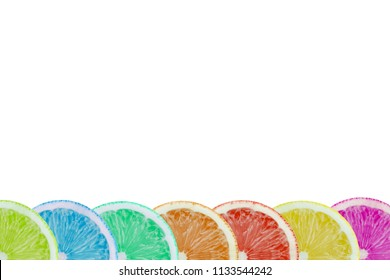 Colored Lemons on white Background