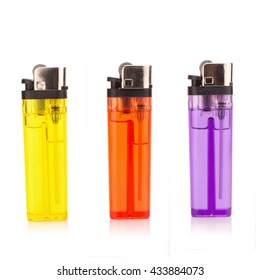 Colored lighters isolated on the white background.