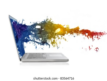 Colored liquid coming out of a laptop