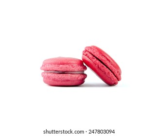 colored macaroons isolated on white background