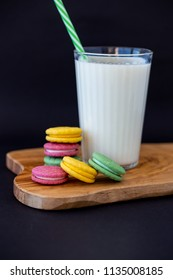 Colored macaroons with milk