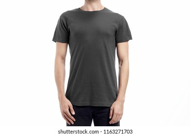 Colored man standard tshirt mockup with flat white background