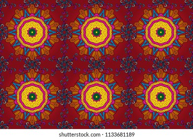 Colored Mandala on a red, orange and black baqckground. Raster circular abstract mandalas pattern. Round ornament with intertwined branches, flowers and curls. Arabesque.