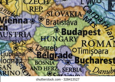 colored map of Hungary and surrounding area