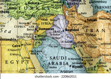 colored map of Iraq, Syria, and surrounding middle eastern countries