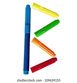 Colored markers posted b letter on a white background.
