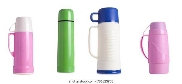 Colored metal and plastic thermos isolated on white background,coffee tumbler thermos.