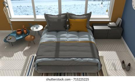 Colored modern bedroom with big panoramic window, sunset, sunrise, architecture minimalist interior design, 3d illustration