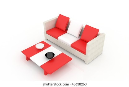 colored modern furniture isolated on a white
