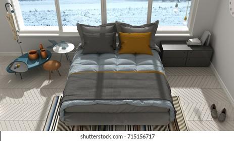 Colored modern white bedroom with big panoramic window, sunset, sunrise, architecture minimalist interior design, 3d illustration