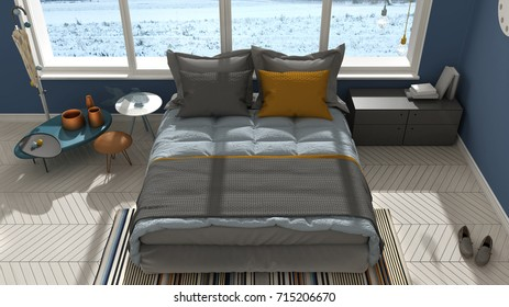 Colored modern white and blue bedroom with big panoramic window, sunset, sunrise, architecture minimalist interior design, 3d illustration