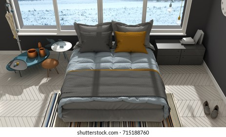 Colored modern white and gray bedroom with big panoramic window, sunset, sunrise, architecture minimalist interior design, 3d illustration