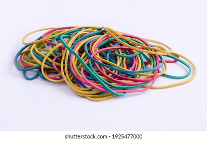 Colored money rubber bands on a light background close-up
