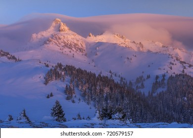 Colored morning light over the mountains