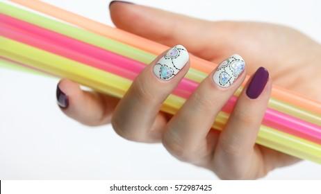 Colored Nail Polish. Beauty hands. Stylish manicure